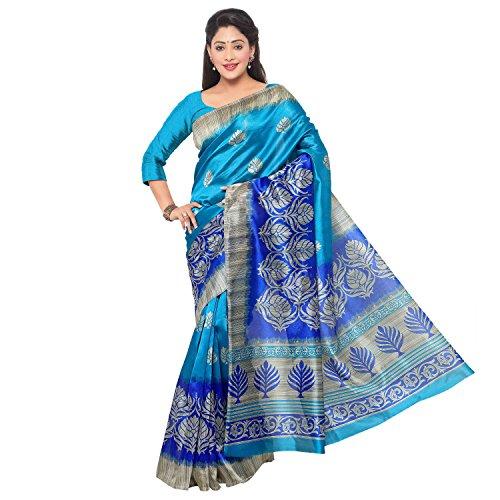 Vaamsi Women's Mysore Art Silk Saree With Blouse Piece(MS1001_Blue_Free Size)