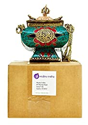 Mudra Crafts Tibetan Cool Brass Copper Metal Buddha Cone Stick Powder Hanging Incense Burner Censer (Simulated Gemstone Inlay)