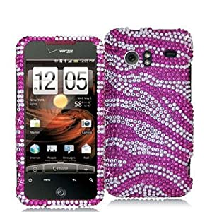 Pink Silver Zebra Bling Rhinestone Case Droid Incredible