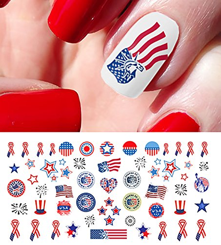 4th of July I Love America Nail Art Waterslide Decals Set #1 - Great for Memorial Day! - Salon Quality!