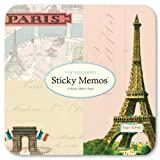 Cavallini - Sticky Memos/Post It Notes - Vintage Paris - 3 Sticky Note Pads/60 sheets per pad