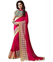 Women's Exclusive Pink Embroidery Lace Border Georgette Sari with Blouse