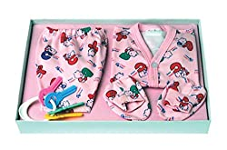FLO-RITE New Just Born Infant Baby Kids Wear My First Bear Hosiery 6 Pcs Tshirt, Short, Booties, Towel, Teether Gift Set(0-6months), Cotton,Pink