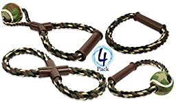 4 Pack Camo Dog Toys - Floss Rope and Tennis Ball by bogo Brands