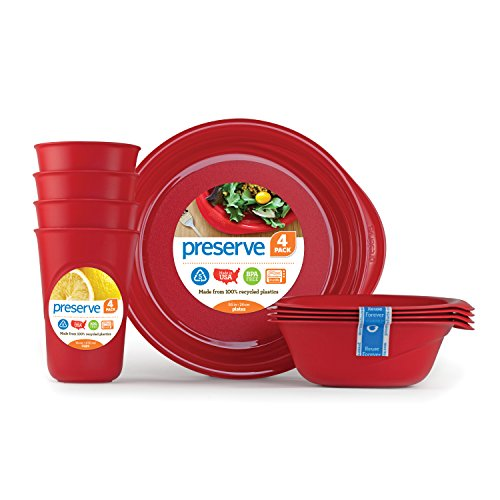 Preserve Everyday Tableware Set: Four Plates, Four Bowls and Four Cups, Pepper Red (Red Tableware compare prices)