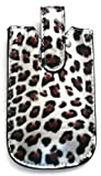 Emartbuy® Silver Leopard/Case/Sleeve/Holder ( Size Medium ) With Pull Tab Mechanism Suitable For Orange Hollywood
