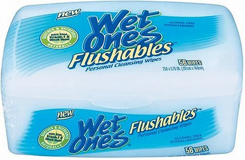Wet Ones Flushables Personal Cleansing Wipes with Aloe, Vitamin E & Witch Hazel, 56 Count Tub