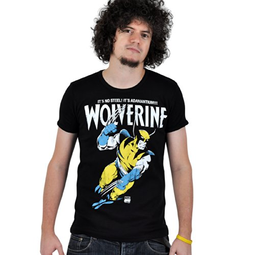 Marvel -T shirt di Wolverine - Maglia girocollo It's Not Steel! It's Adamantium!!! - Stampa vintage - Nero - XXL