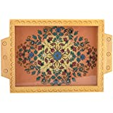 Decor Craftworks Wooden Decorative Tray (24 Cm X 2.5 Cm X 35 Cm, Brown)