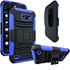 AT&T Tribute / Fusion 3 Case, E-Time (TM) AT&T Tribute / Fusion 3 (HUAWEI Y536A1) GoPhone Armor Series - Heavy Duty Dual Layer Holster Case Kick Stand with Locking Belt Swivel Clip (Free E-Time Brand LCD Screen Protector + Stylus Pen Included) (BLACK/BLUE)