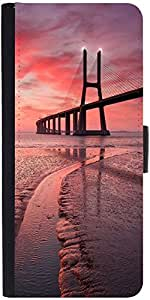 Snoogg Sunset Bridge Graphic Snap On Hard Back Leather + Pc Flip Cover Moto-G
