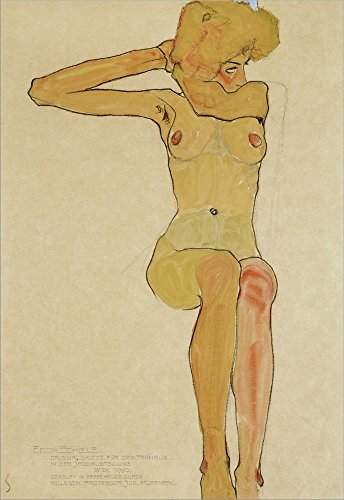Seated Female Nude With Raised Right Arm, 1910 by Egon Schiele Double Sided Laminate, 16 x 23 inches