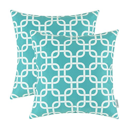 "Set of 2 Euphoria CaliTime Home Decorative Cushions Covers Pillows Shells Comfortable Fleece Modern Squares Chain Geometric Teal Reversible 18"" X 18"""