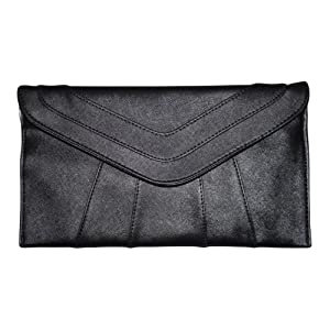 Patzino Fashion Collection, Faux Leather Chic Women's Envelope Clutch (Black)