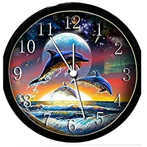 glow in the dark wall clock dolphins and