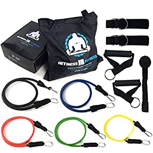 "Resistance Bands Kit Heavy Duty Hitness Fitness Premium Quality ""Deluxe"", Physical Therapy Bands, Resistance Bands for Legs,Women, Crossfit, Yoga, lifeline, Pilates, P90X, Indoor Gym, with Professional Non-Slip grip Handles, Door Anchor, Ankle Strap, Carr"