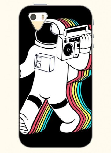 Oofit Phone Case Design With Astronauts Holding A Radio For Apple Iphone 4 4S 4G