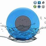 Floveme防水スピーカー 吸盤式Bluetooth [アウトドア/お風呂に最適] ワイヤレススピーカー マイクラウンド搭載防水仕様 (ブルー)