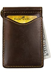 Men's Best Gift, Top Grain Premium Leather, Minimalist Money Clip Card Holder Wallet, RFID Blocker, Available Dark Brown Leather 225RFID-A