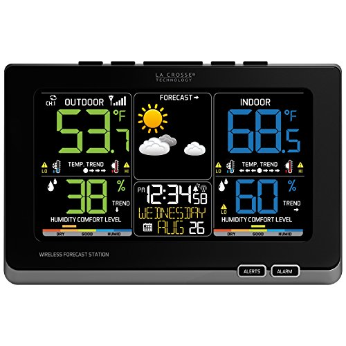 La Crosse Technology C87214 Multicolor Wireless Forecast Station, Black