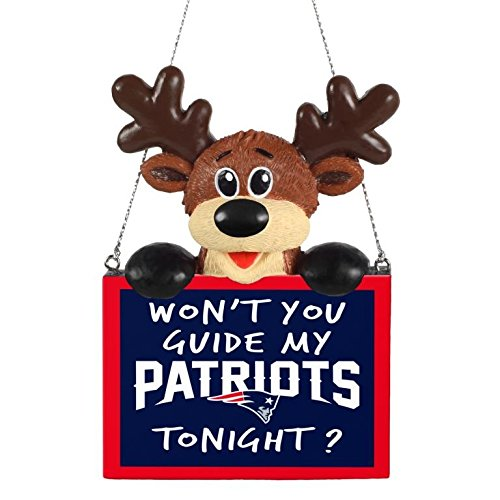 2015 NFL Football Team Logo Reindeer With Sign Holiday Tree Ornament - Pick Team (New England Patriots) (Patriots Ball D compare prices)