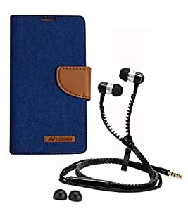 Aart Fancy Wallet Dairy Jeans Flip Case Cover for Blackberry9300 (Blue) + Zipper Earphones/Hands free With Mic *Stylish Design* for all Mobiles- computers & laptops By Aart Store.