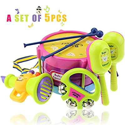 Merry Hand Drum Beat Rattles Educational Kids Toys Children Rattle Baby Toys,5 set