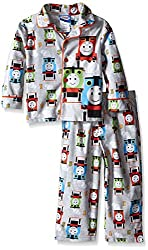 Thomas the Train Little Boys' Steam Engine Racers 2-Piece Pajama Coat Set, Gray, 4T