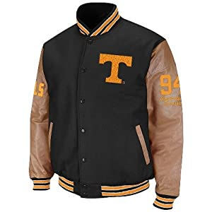 NCAA Tennessee Volunteers Varsity Letterman Button-Up Jacket - Black Tan by Colosseum