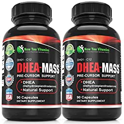 DHEA 100mg 2 Bottle Pack - DHEA-Mass Supplement For Men And DHEA Supplement For Women DHEA-Mass 100mg 180 Capsules