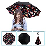 DOLIROX Windproof Reverse Folding Double Layer Inverted Umbrella and Rain Protection Umbrella with C-shaped Hands Free Handle, Best for Travelling and Car Use (Black & Pink Bellamy)
