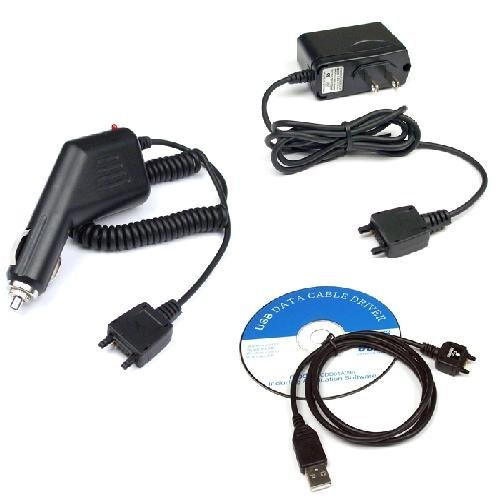 USB Data Cable + Rapid Car Charger + Home Travel Charger for T-Mobile Sony Ericsson TM506