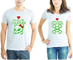 LaCrafters Couple tshirt - Together till death Couples Tshirt_Grey_XL - Set of 2