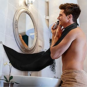 Beard Bib Hair Trimming Catcher Mustache Beard Apron Cape with Strong Mirror Hook Suction Cups for Beard Men Boyfriend Husband