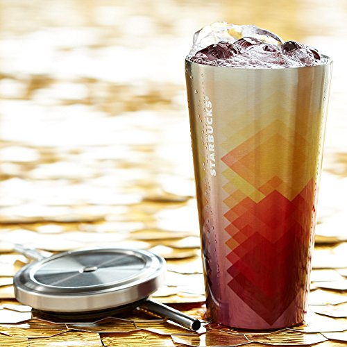 Starbucks Stainless Steel Cold-To-Go Cold Travel Tumbler Thermos Mug Cup, Summer Sunsets, Rainbow - 16 Fl Oz