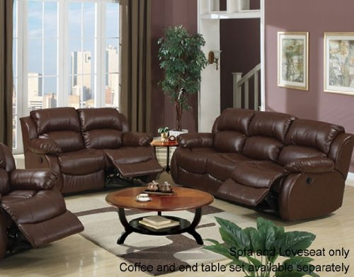Picture of Poundex 2pc Sofa and Loveseat Set in Walnut Bonded Leather Match (VF_Livset-F7731-F7732) (Sofas & Loveseats)