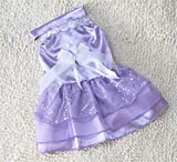 Start Here Pet Dog Dresses Dog Costumes Pet Dog Puppy Youthful Wedding Dress Vest Purple (S)