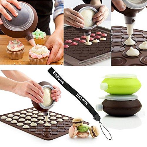 Estone® Silicone Cake Muffin 3 Nozzle Kit Macaron Baking Decorating Pen Pastry Cream Set front-273781