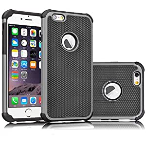 iPhone 6 case, Apatner New Hybrid Rugged Rubber Hard Shockproof Plastic Case Cover Skin for iPhone 6 6S(Gray)