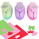 Paper Punch Hole Puncher -- (3 PACK Leaf Crown Ribbon) -- Personalized Paper Craft Punchers Shapes Set -- For Scrapbook Engraving Kids Artwork -- Greeting Card Making DIY Crafts