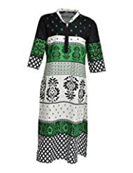 Global Women's Cotton Straight Kurta (GW41GreenXL015, Green, XL)