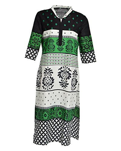 Global Women's Cotton Straight Kurta (GW41GreenXL015, Green, XL)