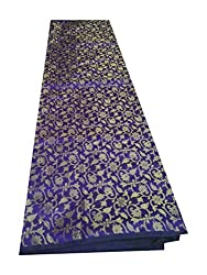 Brocade unstitched Fabric by JDK NOVELTY - Purple base Golden flower design fabric (A-17_1M) One meter long