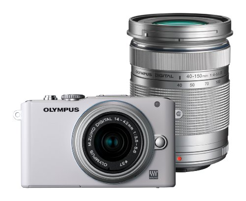 Olympus Pen E-PL3 Compact System Camera Double Zoom Kit - White (M.ZUIKO Digital 14 -42mm II R and M.ZUIKO Digital 40 -150mm Lenses)