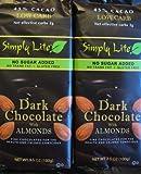 Trader Joes 2--- 45% Cacao Low Carb Simply Lite No Sugar Added Dark Chocolate w/Almonds Bar