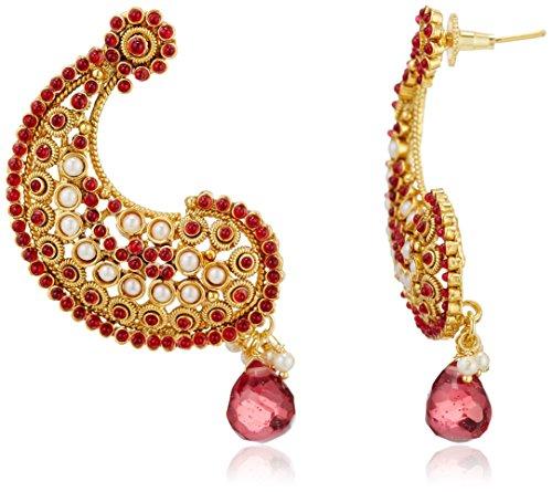 Sia Sia Art Jewllery Drop Earrings For Women (Golden And Maroon) (AZ1324) (Multicolor)