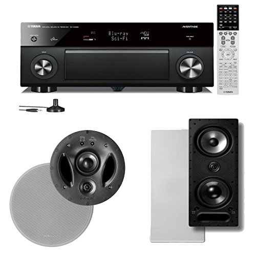 Yamaha Rx-A1030 7.2 Channel Network Audio Video Receiver Plus A Polk Audio Vanishing Series In-Wall / In-Ceiling Speaker Package (900-Ls & 265-Ls)