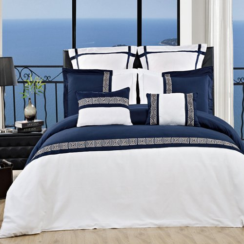 7Pc- Full/Queen Astrid White/Navy Duvet Cover Set By Hotel Collection front-231343