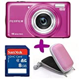 Fujifilm T400 Pink Digital Camera + 8GB + Hard Carry Case Bundle (Fuji Finepix 16MP, 10x Optical Zoom) 3 inch LCD Screen