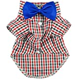 Handsome Casual Dog Plaid Shirt Gentle Dog Western Shirt Dog Clothes Dog Shirt + Bow Free Shipping,Red,S